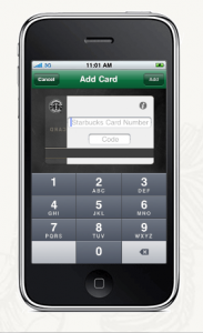 Entering card number into Starbucks Card Mobile